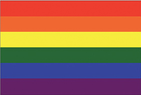 The famous Gay Pride rainbow flag originally designed in 1978 by Gilbert Baker